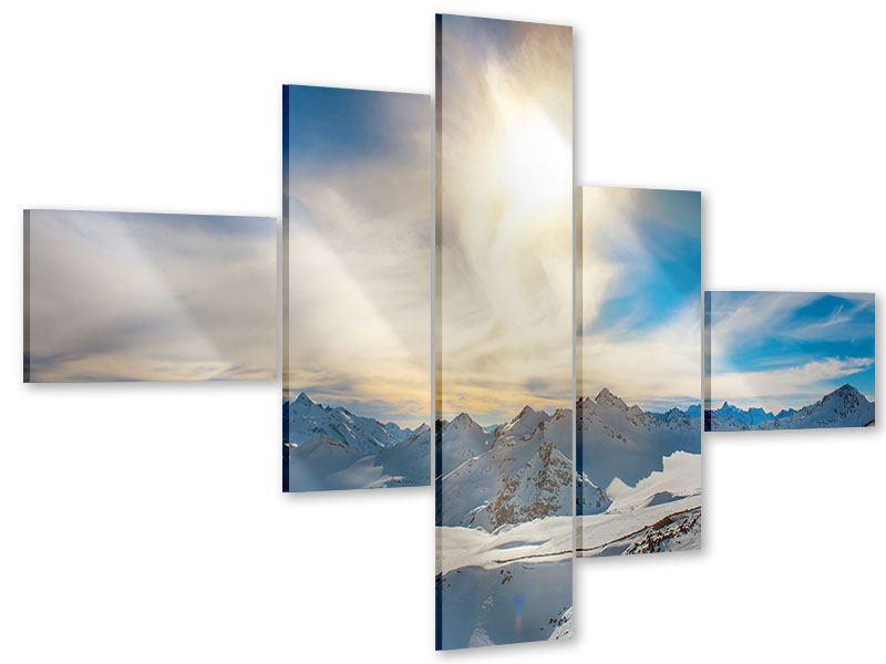 Acrylglasbild 5-teilig modern Über den verschneiten Gipfeln