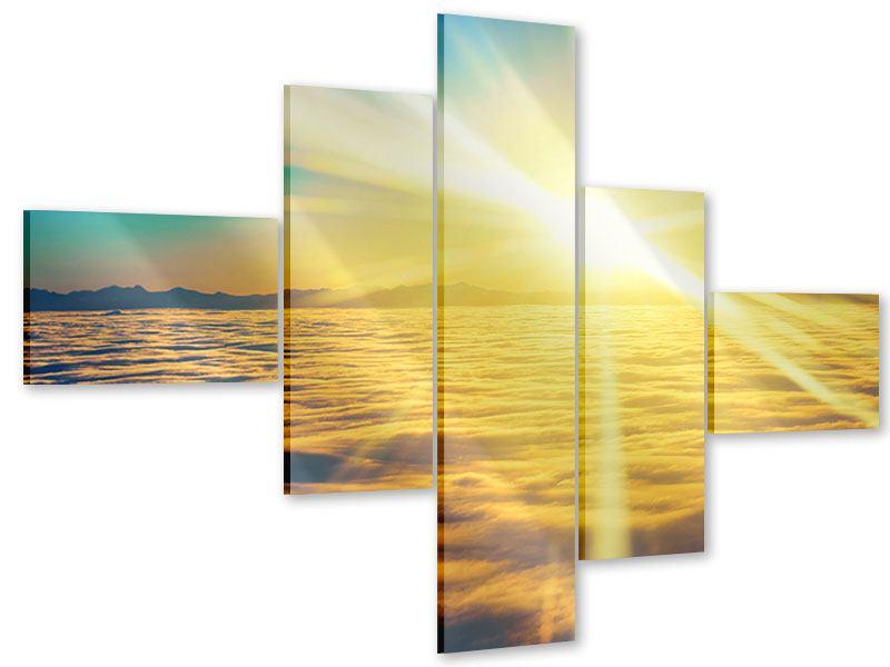 Acrylglasbild 5-teilig modern Sonnenuntergang über den Wolken