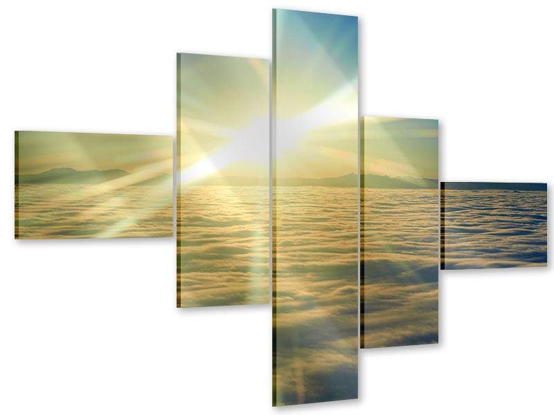 Acrylglasbild 5-teilig modern Sonnenaufgang über den Wolken