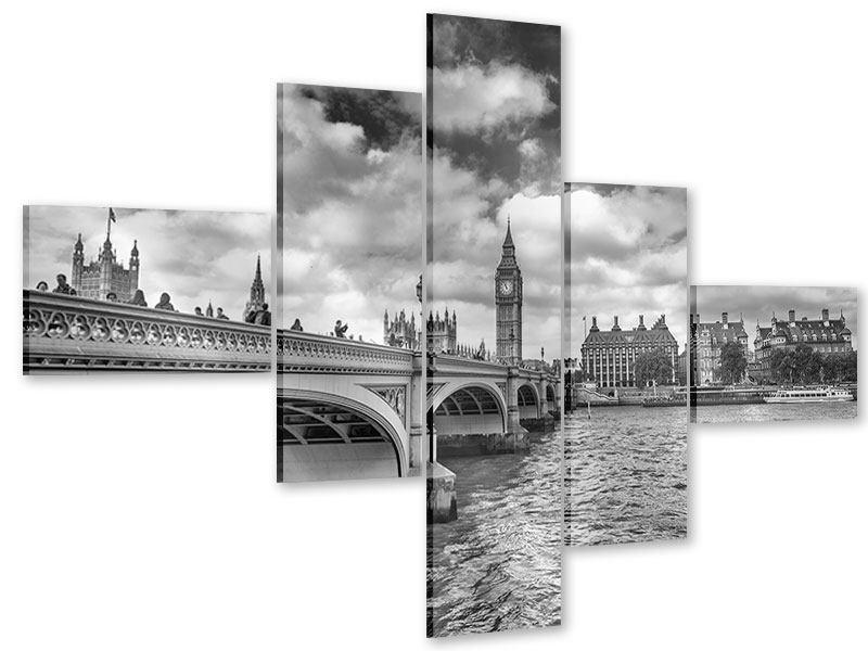 Acrylglasbild 5-teilig modern Westminster Bridge