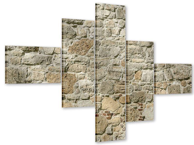 Acrylglasbild 5-teilig modern Naturmauer