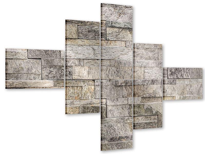 Acrylglasbild 5-teilig modern Elegante Steinmauer