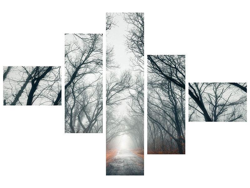 Acrylglasbild 5-teilig modern Mysteriöse Stimmung im Wald