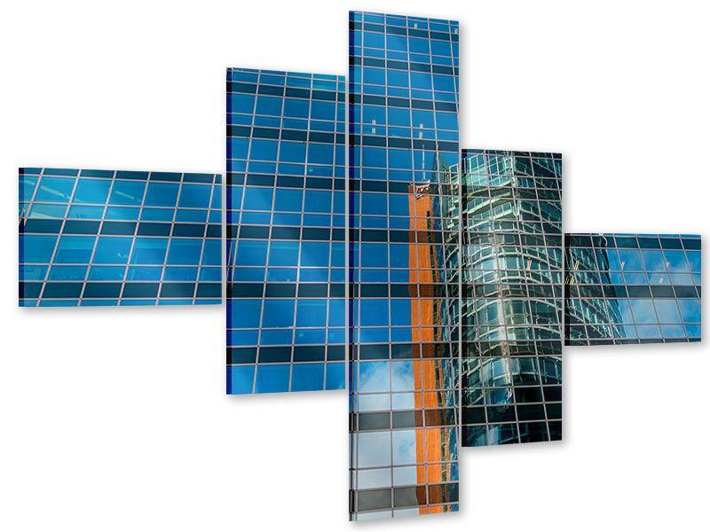 Acrylglasbild 5-teilig modern Wolkenkratzer-Spiegel