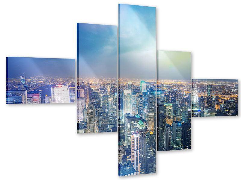 Acrylglasbild 5-teilig modern Skyline NY bei Sonnenuntergang