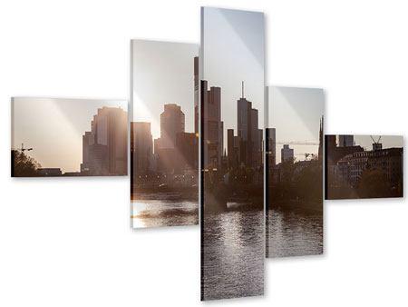 Acrylglasbild 5-teilig modern Skyline Sonnenaufgang bei Frankfurt am Main