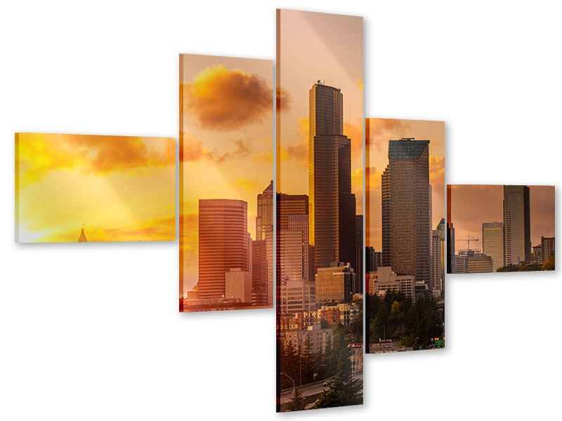 Acrylglasbild 5-teilig modern Skyline Washington