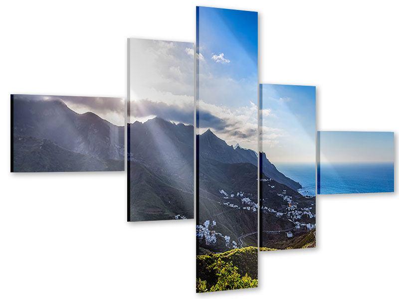 Acrylglasbild 5-teilig modern Der Frühling in den Bergen