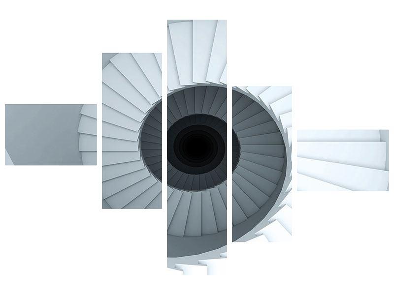 Acrylglasbild 5-teilig modern 3D Wendeltreppe
