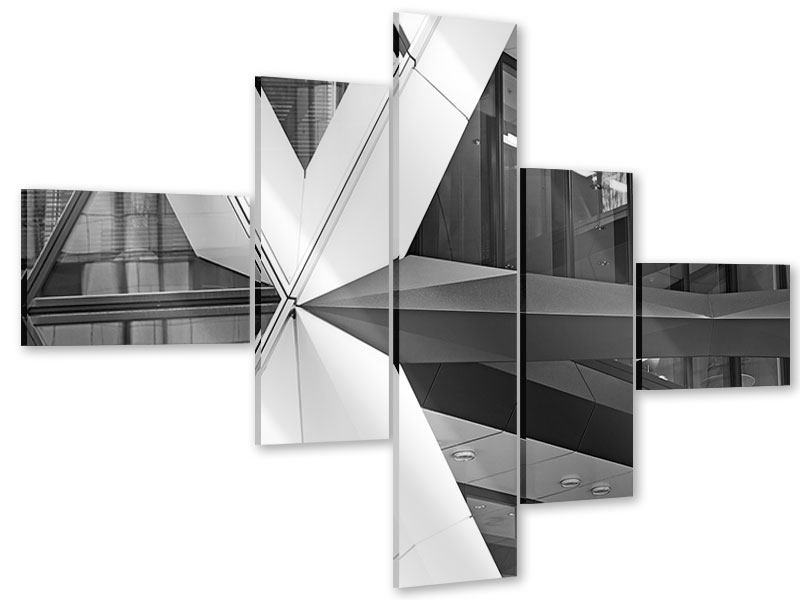 Acrylglasbild 5-teilig modern Teil eines Wolkenkratzers
