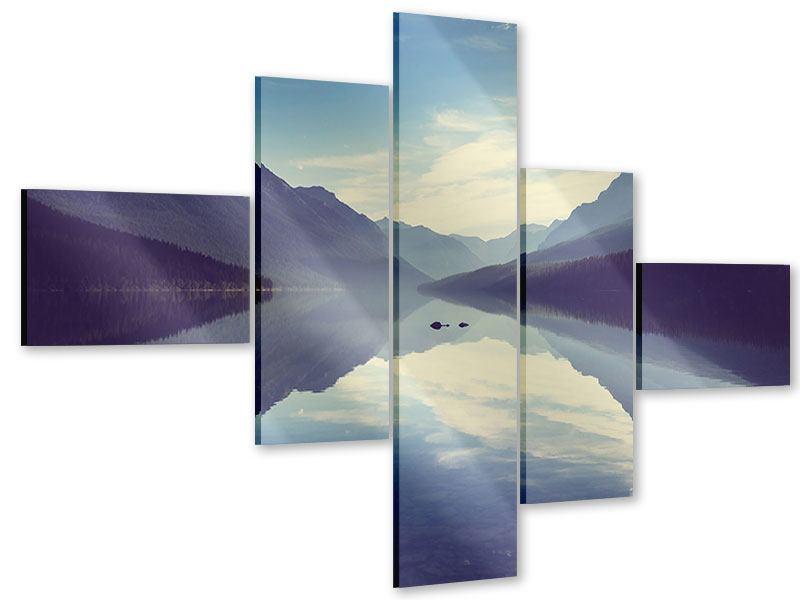 Acrylglasbild 5-teilig modern Bergspiegelung
