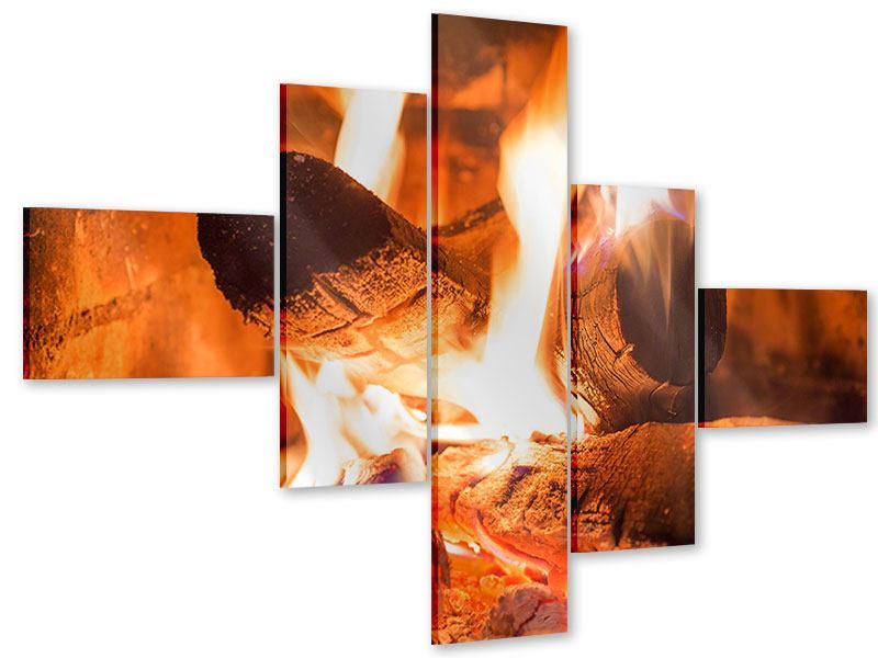 Acrylglasbild 5-teilig modern Kaminfeuer