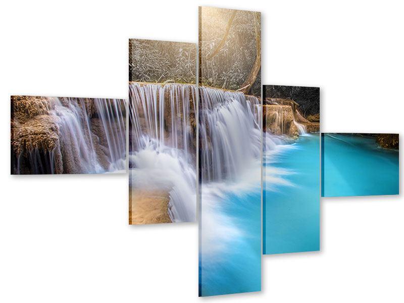 Acrylglasbild 5-teilig modern Glücklicher Wasserfall