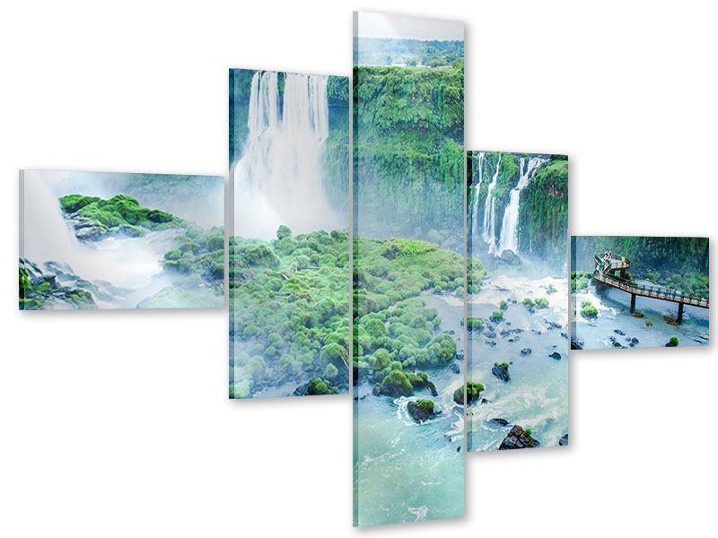 Acrylglasbild 5-teilig modern Wasserfälle