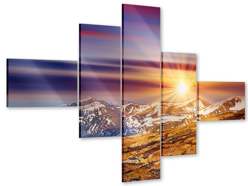 Acrylglasbild 5-teilig modern Majestätischer Sonnuntergang am Berggipfel