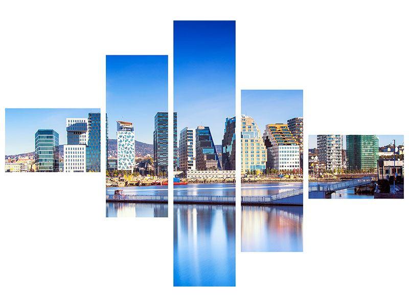 Acrylglasbild 5-teilig modern Skyline Oslo