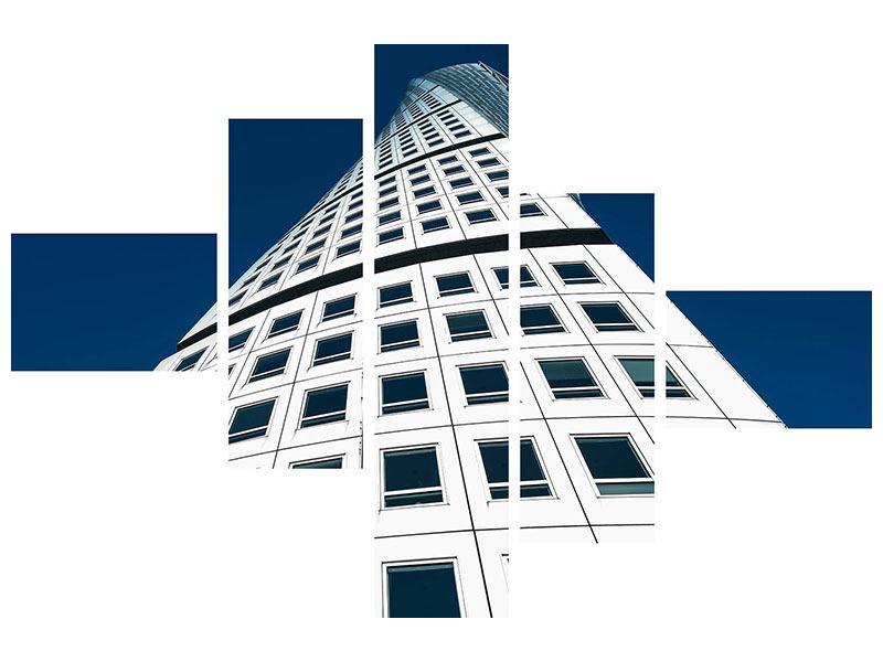 Acrylglasbild 5-teilig modern Meisterstück Wolkenkratzer