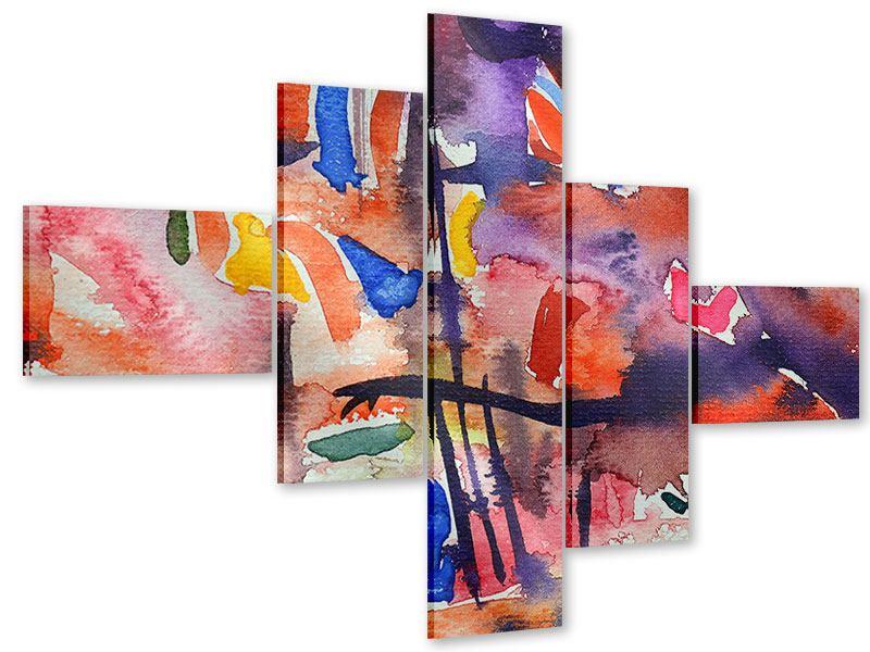 Acrylglasbild 5-teilig modern Aquarell