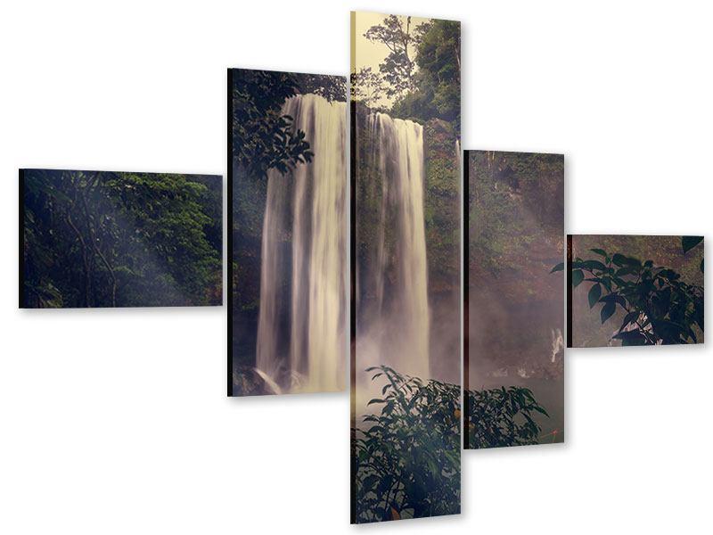 Acrylglasbild 5-teilig modern Wasserfall in Mexiko