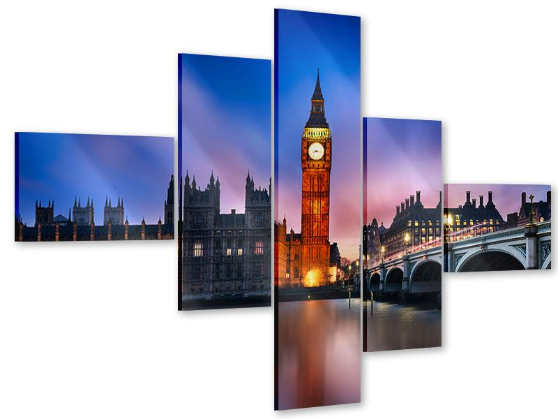 Acrylglasbild 5-teilig modern Nachts am Big Ben
