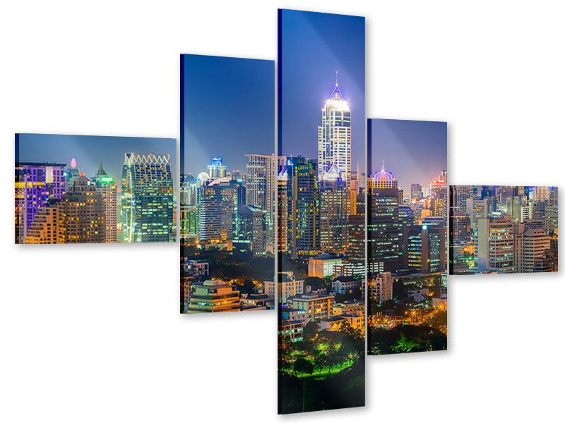 Acrylglasbild 5-teilig modern Skyline One Night in Bangkok