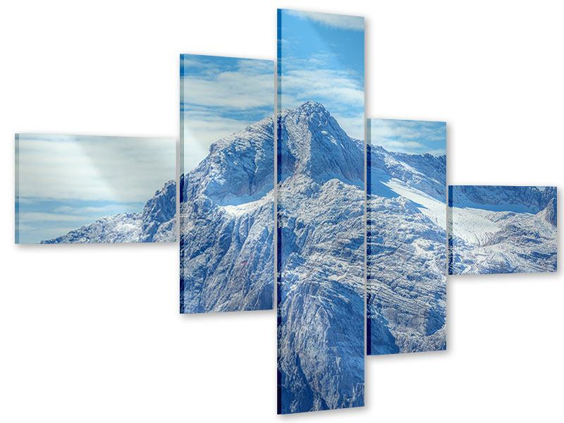 Acrylglasbild 5-teilig modern Friedliche Bergstimmung