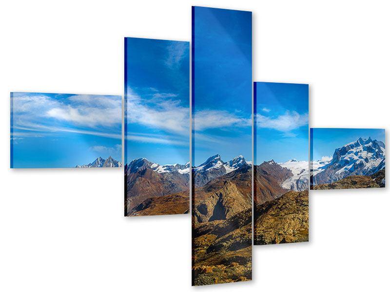 Acrylglasbild 5-teilig modern Schweizer Alpen im Frühling