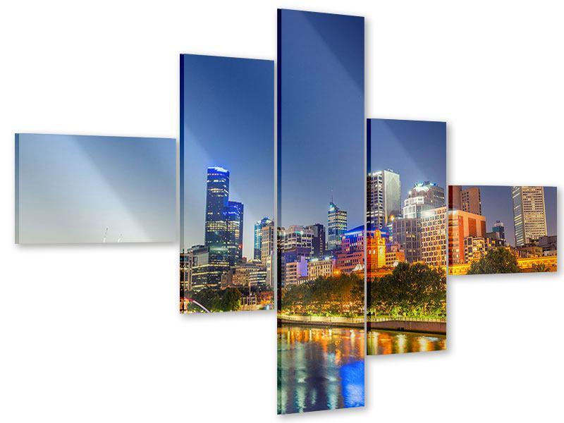 Acrylglasbild 5-teilig modern Skyline Sydney in der Abenddämmerung