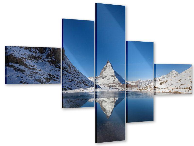 Acrylglasbild 5-teilig modern Der Riffelsee am Matterhorn