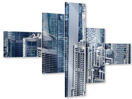 Acrylglasbild 5-teilig modern Die Wolkenkratzer von Dubai
