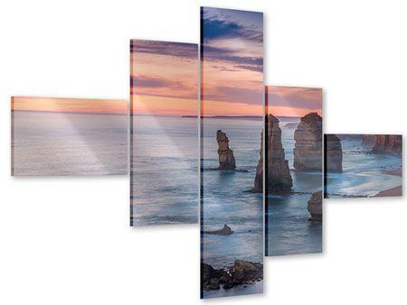 Acrylglasbild 5-teilig modern Felsen in der Brandung