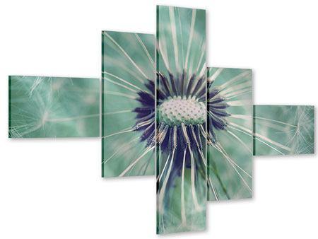 Acrylglasbild 5-teilig modern Close Up Pusteblume