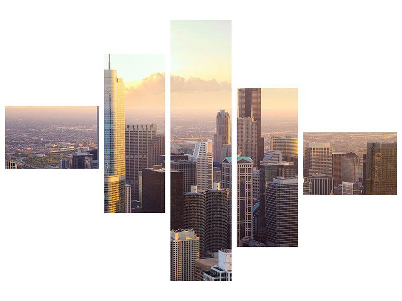 Acrylglasbild 5-teilig modern Skyline Chicago