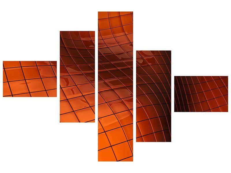 Acrylglasbild 5-teilig modern 3D-Kacheln