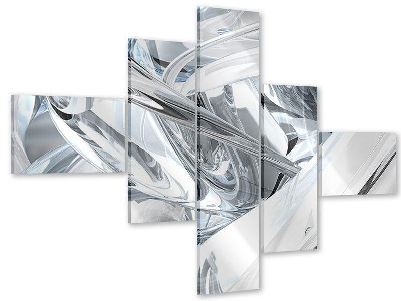Acrylglasbild 5-teilig modern Abstrakte Glasbahnen