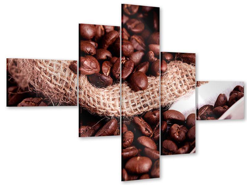 Acrylglasbild 5-teilig modern XXL Kaffeebohnen
