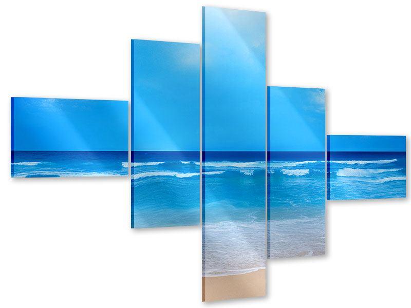 Acrylglasbild 5-teilig modern Sanfte Strandwellen