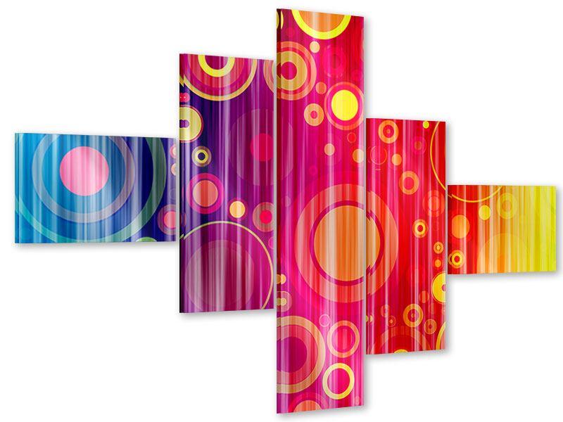 Acrylglasbild 5-teilig modern Grunge-Retrokreise