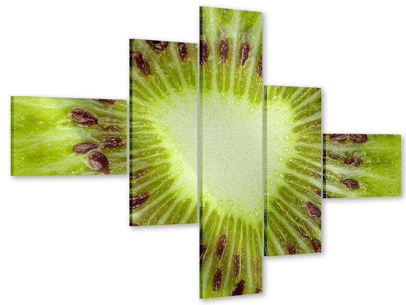 Acrylglasbild 5-teilig modern Close Up Kiwi