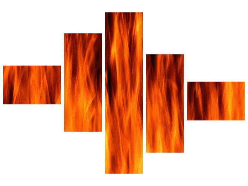 Acrylglasbild 5-teilig modern Feuer Close Up