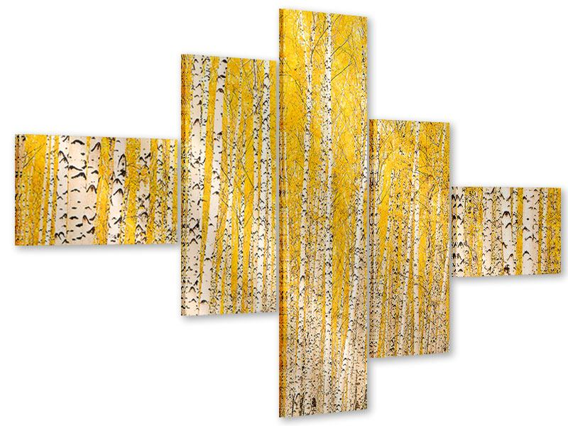 Acrylglasbild 5-teilig modern Der Birkenwald im Herbst