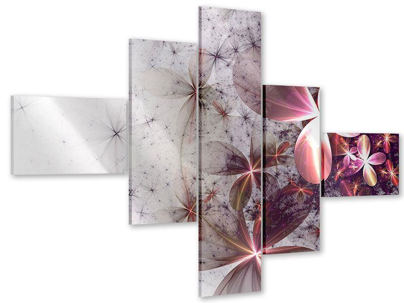 Acrylglasbild 5-teilig modern Abstrakte Blumen
