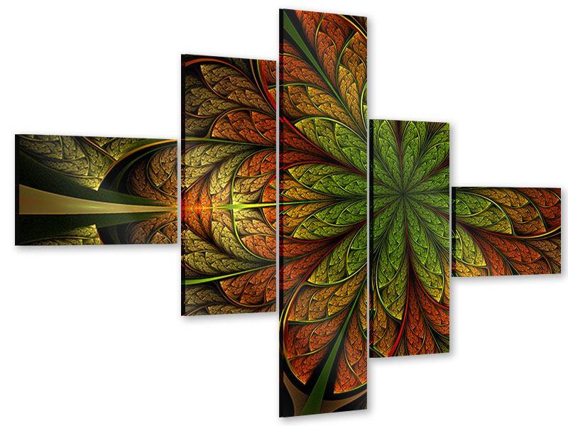 Acrylglasbild 5-teilig modern Abstraktes Blumenmuster