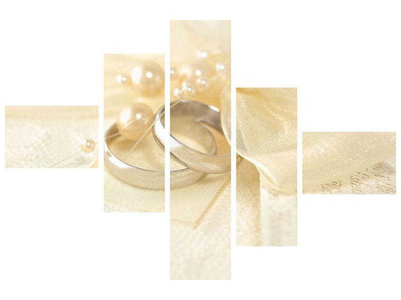 Acrylglasbild 5-teilig modern Trauringe