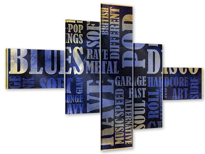 Acrylglasbild 5-teilig modern Writings im Grungestil