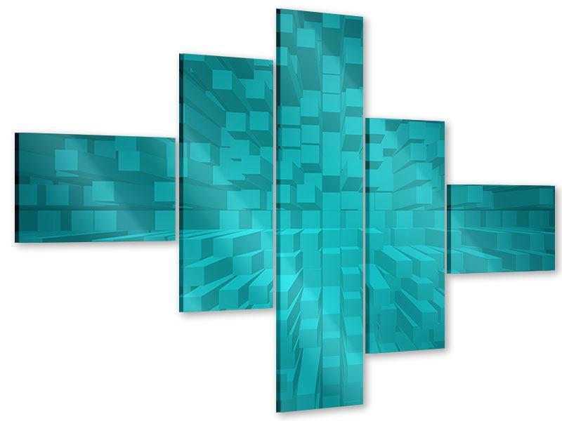Acrylglasbild 5-teilig modern 3D-Kubusse