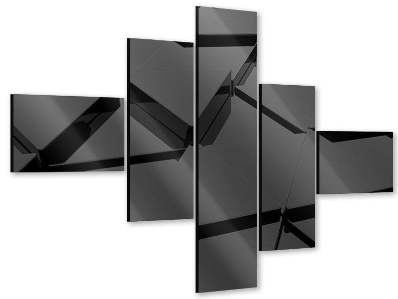 Acrylglasbild 5-teilig modern 3D-Dreiecksflächen