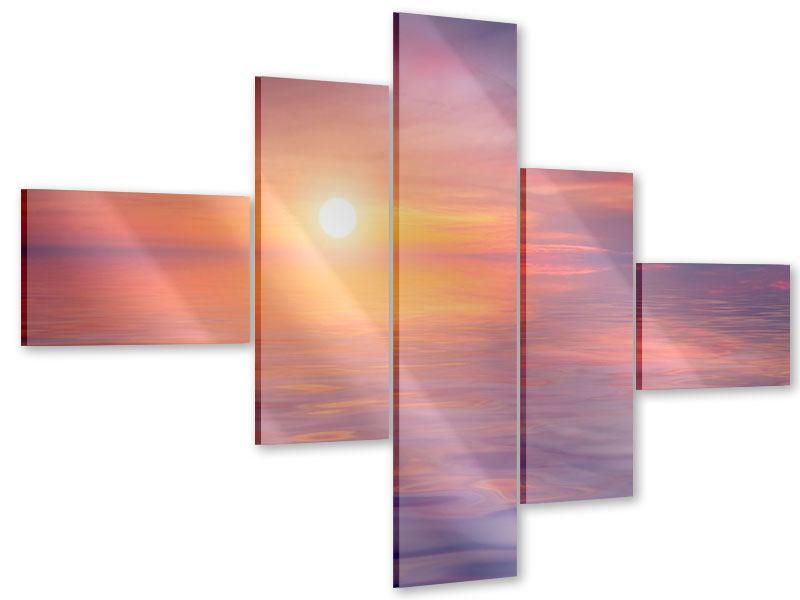 Acrylglasbild 5-teilig modern Sonnenuntergang auf See
