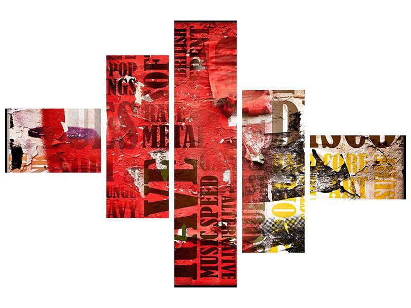 Acrylglasbild 5-teilig modern Musiktext im Grungestil