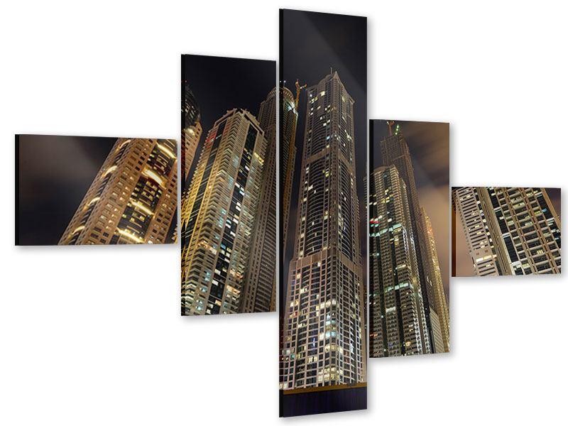 Acrylglasbild 5-teilig modern Wolkenkratzer Dubai Marina